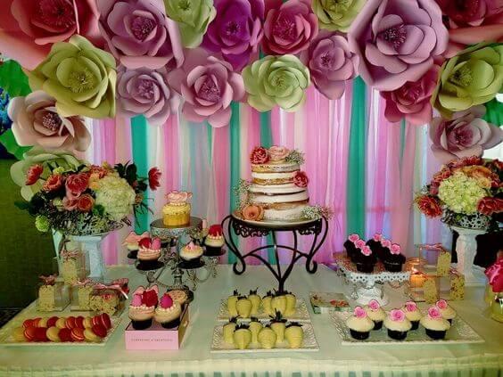 Mesa de dulces para 15 años económica y sencilla